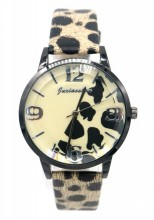 A-A8.1 W523-009A Quartz Watch With PU Strap Leopard 35mm Beige