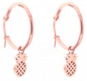 B-B16.2 E015-012SD Stainless Steel Earrings 25mm Pineapple Rose Gold