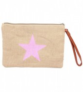 T-B7.2  BAG324-001 Jute Clutch with Star Pink