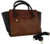 R-E5.2 BAGE-858 Leather Bag Snake 41x24x12cm Black-Brown