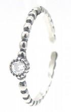 I-E15.1 SR104-238 925S Silver Ring Zirconia  Adjustable