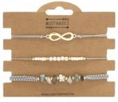 D-E16.2  B019-051 Bracelet Set 3pcs Infinity Grey