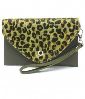 R-C6.1  BAG1202-020S PU Clutch with Leopard Print 17x10cm Green