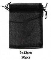 S-J2.2 Black Organza Gift Bag 9x12cm - 50pcs