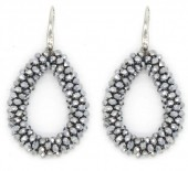 A-A4.2 E007-001 Facet Glass Beads 4.5x3.5cm Silver