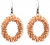 C-E2.3 E007-001 Facet Glass Beads 4.5x3.5cm Salmon