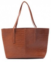 Y-C3.1 BAG417-004B PU Shopper Croco 44x30x10cm Brown