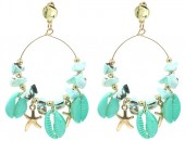 G-C2.1 E536-113A Earrings Shells 6x4cm Blue