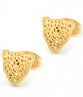 A-C15.1  E1842-010 Stainless Steel Studs 8mm Leopard Gold