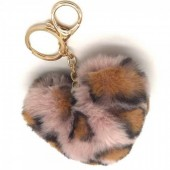 S-D5.2  KY414-001G Fluffy Keychain 10 Heart Leopard Pink