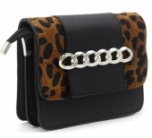 T-L3.1 BAG122-019 PU Bag with Chain and Leopard Print Black 20x15x6 cm