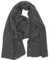X-E5.2 S004-012 Scarf with Golden Deer with Antlers 70x180cm Dark Grey