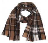 Y-C1.5 SCARF404-015A Checkered Scarf Brown