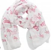 L-A3.2 S021-001 Scarf with Flamingos 180x70cm White