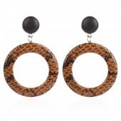 A-A15.2  Earrings Snakeskin 7.4x5cm Brown