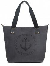 Q-H7.2  BAG017-020 Black Canvas Bag with printed Anchor 43x31x16cm