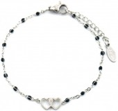 E-A2.1 B301-029 S. Steel Bracelet with Black Dots and 10mm Hearts Silver