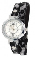 E-C7.7 W1202-003 PU Wrap Watch with Panter Print Grey