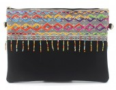 S-J5.3 BAG115-002 Ibiza Clutch with Long Shoulder Strap Black