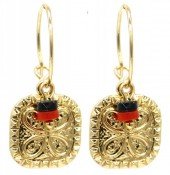 G-C5.1 E2019-036G Earrings Coin 1.5x3cm Gold