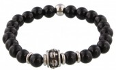 B-F17.3 S. Steel Bracelet with Semi Precious Stones Black
