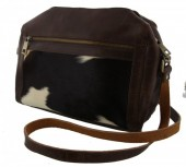 R-B5.1 Luxury Leather Bag with Mixed Cow Hide 30x27x10cm Dark Brown