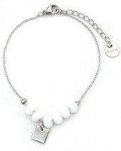 D-A18.5 B317-005 Stainless Steel Bracelet with Facet Glass Beads White