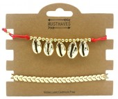 C-E22.3 B538-002 Bracelet Set 2pcs Shells Red-Gold