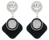 B-F15.3 E1631-030B Earrings with Crystals 4.5x2.5cm Silver