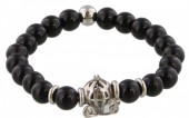 B-E4.1 S. Steel Bracelet with Semi Precious Stones Black