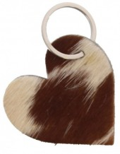 A-A16.5 Leather Cowhide Keychain Heart Mixed Colors 7cm