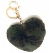 A-F9.3 KY414-001D Fluffy Keychain 10cm Heart Leopard Green