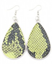 C-A16.2 E220-010 Metal Earrings with PU Snakeskin 7x3.5cm Green
