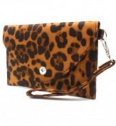 WA220-002 Clutch with Panther Print 17x10cm Brown