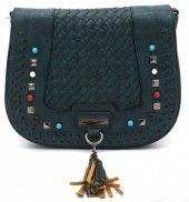 Y-A2.1 BAG193-002 PU Bag with Studs and Tassel Green 26 x 20 cm