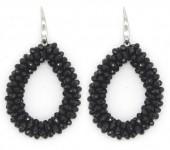 E-A16.2 E007-001 Facet Glass Beads 4.5x3.5cm Black