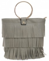 R-G6.1 BAG010-002 PU Bag with Fringes Grey 26x22cm