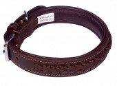 G-D15.2 MTDC-001 Leather Dog Collar Braided Brown XS 44x2cm