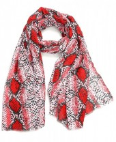 X-M3.2  S314-004 Scarf with Snake print 180x90cm Red