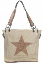Q-I2.3 BAG017-010 Kakhi Canvas Bag With PU Star 35x26x12cm