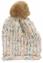 T-M6.2 Spotted Beanie with Fake Fur Pompon White