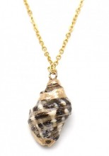 A-F2.2 N2121-009G S. Steel Necklace with Shell Gold
