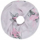 Q-K6.1 SC1801-009 Scarf with Glitters and Flamingo Col Grey