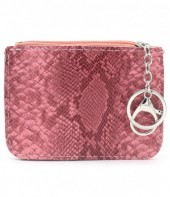 K220-006 Keychain Wallet Snakesking with Creditcard Pocket 12x9cm Pink