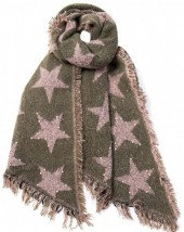 Z-C1.5 Scarf with Stars  - Pearls and Studs 65x180cm Green