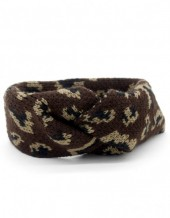 Q-L8.2 H114-022 Headband with Leopard Print Dark Brown