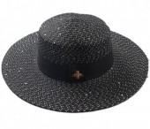 Q-C2.1 HAT504-002A Hat with Glitters and Bee Black