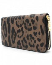 X-M7.2 WA011-001 Wallet with Leopard Print 19x10cm Brown