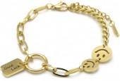 A-F14.1  B014-011G S. Steel Bracelet Smiley - Good Luck Gold