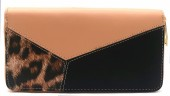 R-G7.2 WA529-003A PU Wallet Leopard 19x10cm Pink